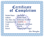 Online DADAP course completion certificate